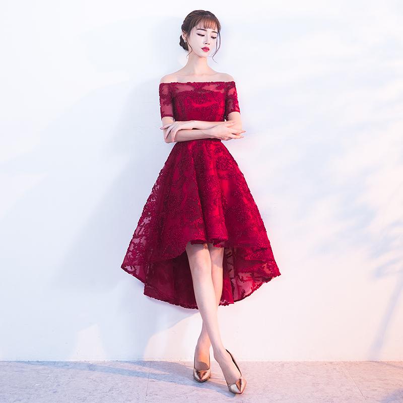 Spesifikasi Elegan Perempuan Baru Musim Dingin Perjamuan Pesta Gaun Gaun Malam Kecil Arak Anggur Warna Bahu Sabrina Lengan Pendek Stagen Model
